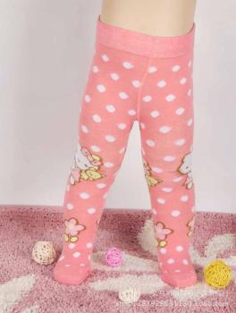 嬰兒連褲襪女寶寶圓點連襪褲粉色春裝新款打底褲