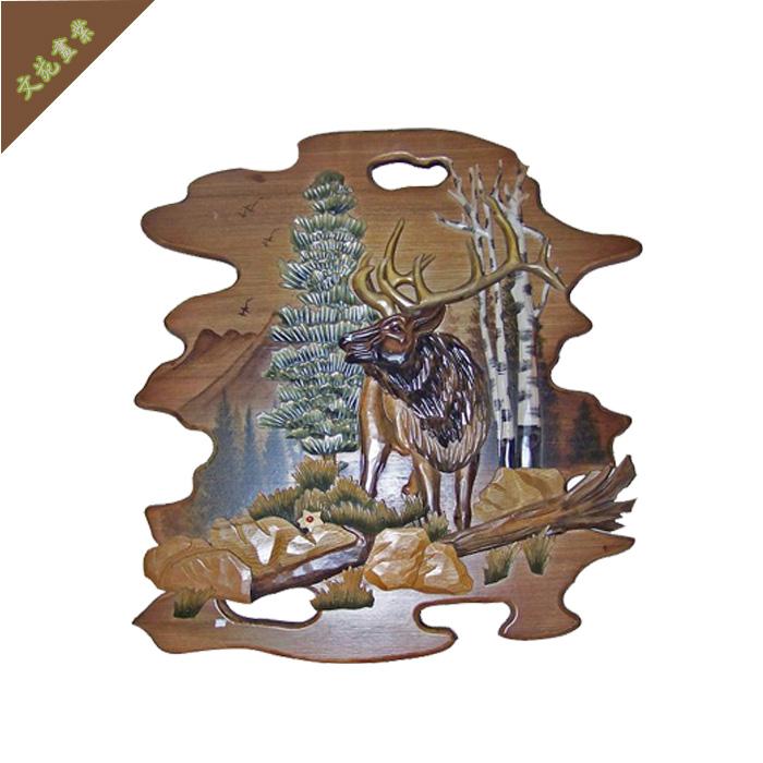 实木木雕装饰画 东北木雕 雕刻挂件