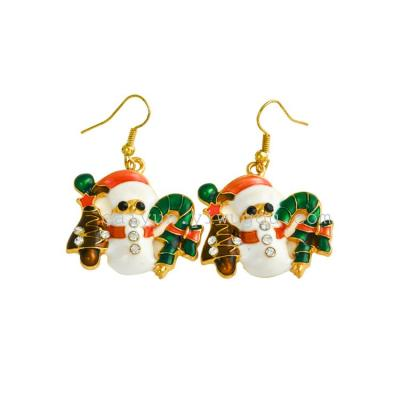Rhinestone Jewelry Ear Stud Santa Claus Earrings  Wedding Souvenir Decorative Free Shipping  E0005