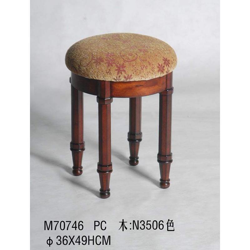 欧式木艺梳妆凳圆凳子时尚小凳子 沙发凳 圆凳带垫m70746