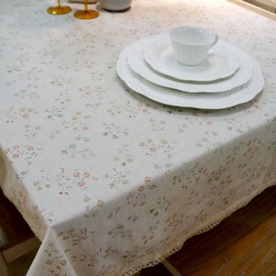 Small floral cotton linen tablecloth cloth pastoral printing plain table cloth lace coffee table Bugaboo