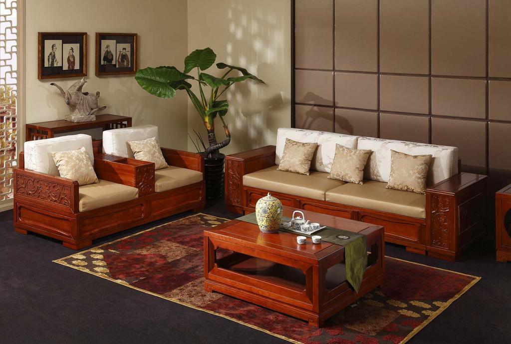 木宝美家新中式黄金樟纯实木沙发图片