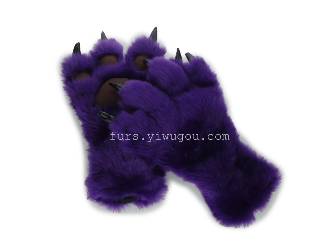 卡通表演手套 熊掌爪子手套 毛毛手套 冬季保暖手套