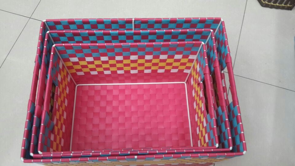 3件套包装带打包带手工编织方形彩色收纳篮收纳筐_ 联