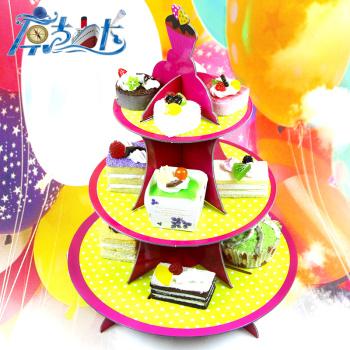 儿童生日派对用品 派对纸制品 蛋糕架纸质精美三层蛋糕架批发图片