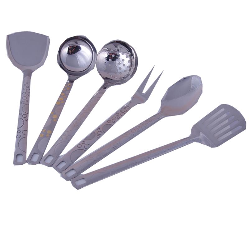 高档不锈钢厨具六件套 炒菜锅铲套装厨房炊具烹饪工具