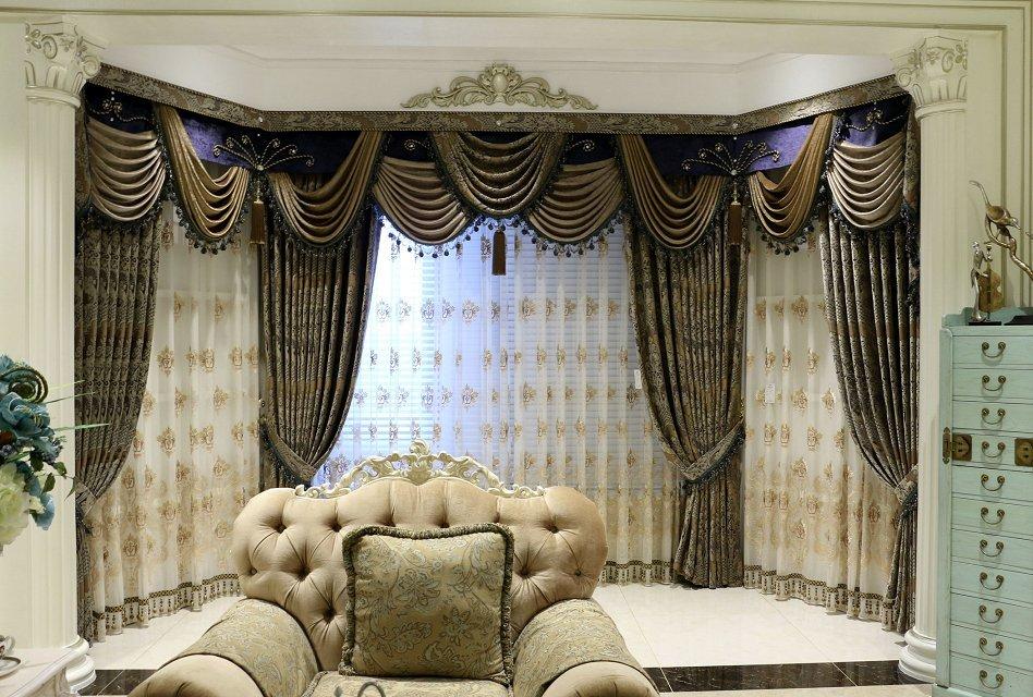 高档欧式浮雕绣花窗帘布 全遮光客厅卧室成品窗帘布