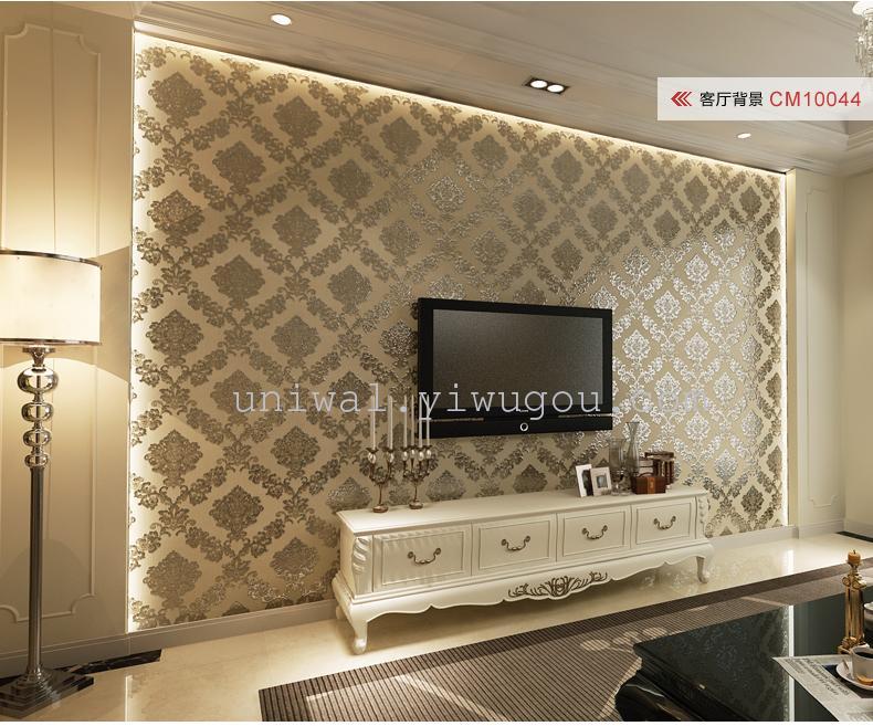环保无纺布墙壁纸 欧式大马士革 温馨卧室客厅电视背景墙壁纸