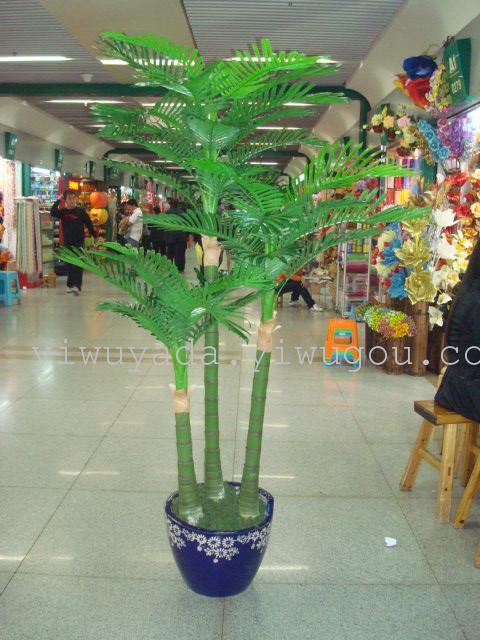 仿真树厂家直销外贸精品绿色植物3杆天竺葵 葵树仿真树假树盆景