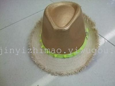 Summer grass Topper PU paper matching color stitch stereotypical Hat