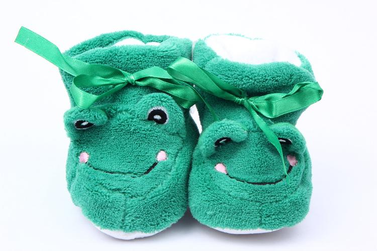 外贸批发 秋冬新款 卡通动物头鞋子 宝宝学步鞋 珊瑚绒婴儿软底