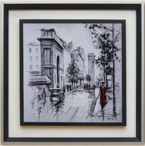 欧式客厅三联挂画简约卧室餐厅有框画手绘油画厂家批发街景装饰画