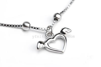 Free Shipping 1PC 8inch+1.5inch 925 Sterling Silver Anklets Heart Charm Anklets For Women GNJL0014