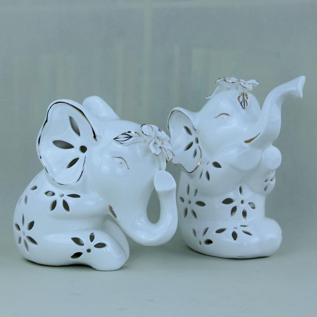 陶瓷工艺品 欧式客厅装饰摆件 结婚礼物 情侣描金大象