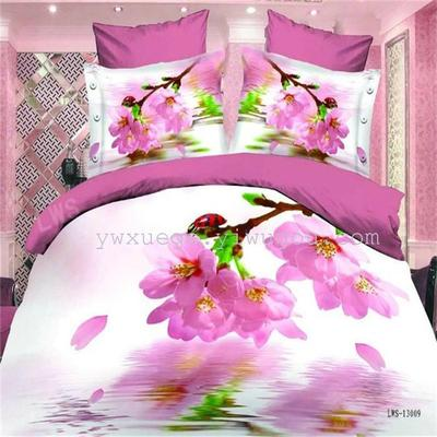 Yiwu snow dove foreign trade 3D stereo bed product active printing and dyeing quilt quilt bedding