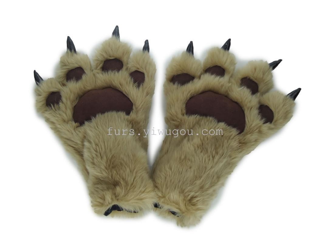 皮草熊掌爪子手套 棉手套 表演手套 时尚手套_ 宏昌