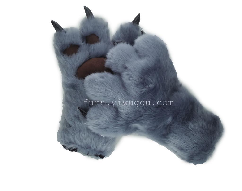毛皮熊掌爪子手套 表演手套 四指手套 冬季手套_ 宏昌