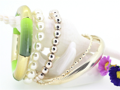 Korean character mix candy color multi-layer bangles Pearl AZ1401056