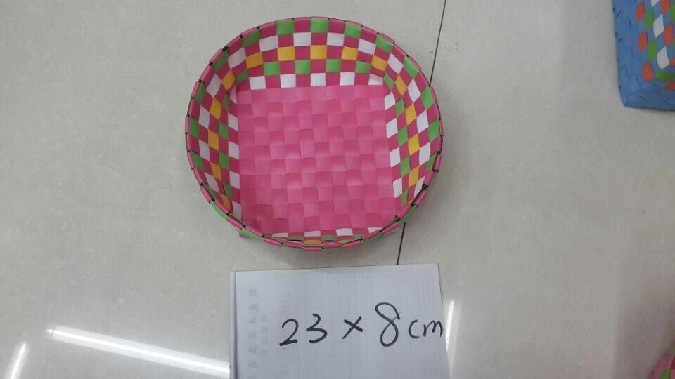 2件套包装带打包带手工编织圆形 椭圆形彩色收纳篮