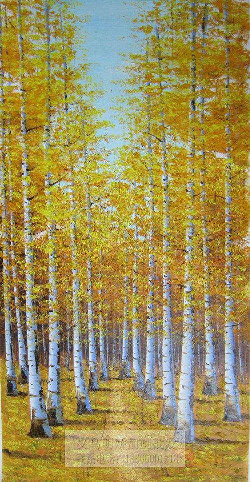 白桦林油画 风景油画 纯手绘油画15659_明娇油画装饰