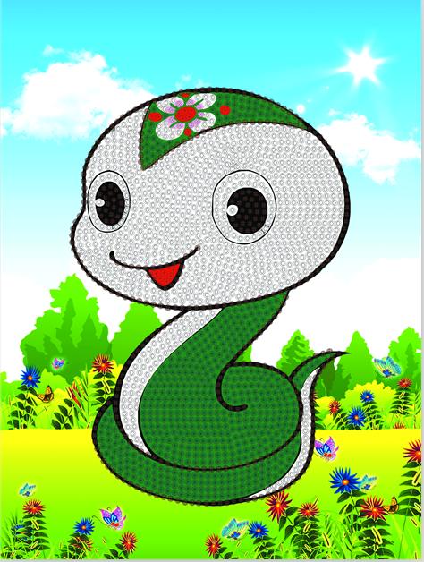 厂家直销最新款自带框架儿童钻石手工卡通12生肖蛇
