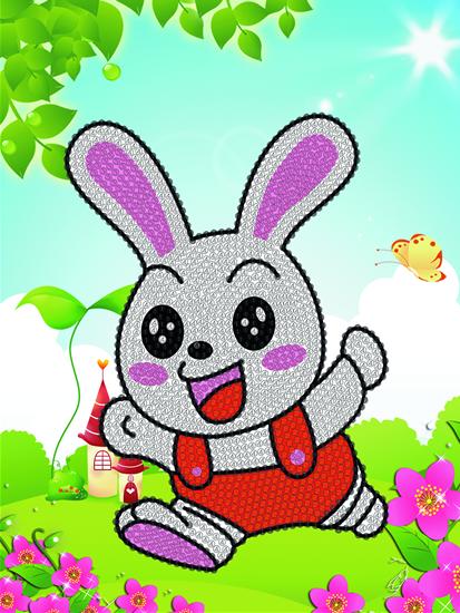 儿童钻石画快乐的小白兔