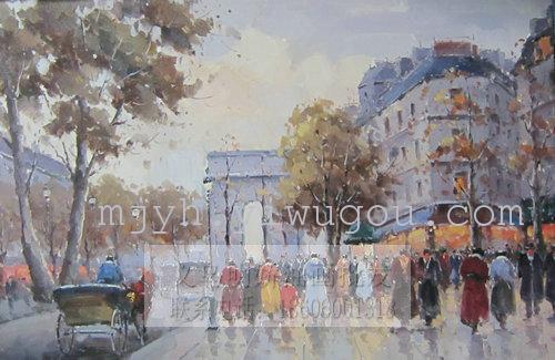 现代街景油画 纯手绘油画15687_ 明娇油画装饰画(中国