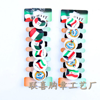 2014 new Korea pins hair accessories hair bands made rope tinplate badges