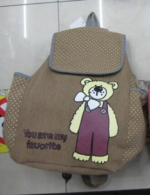 Cute cartoon canvas backpack Korean wave female school student bags leisure bags