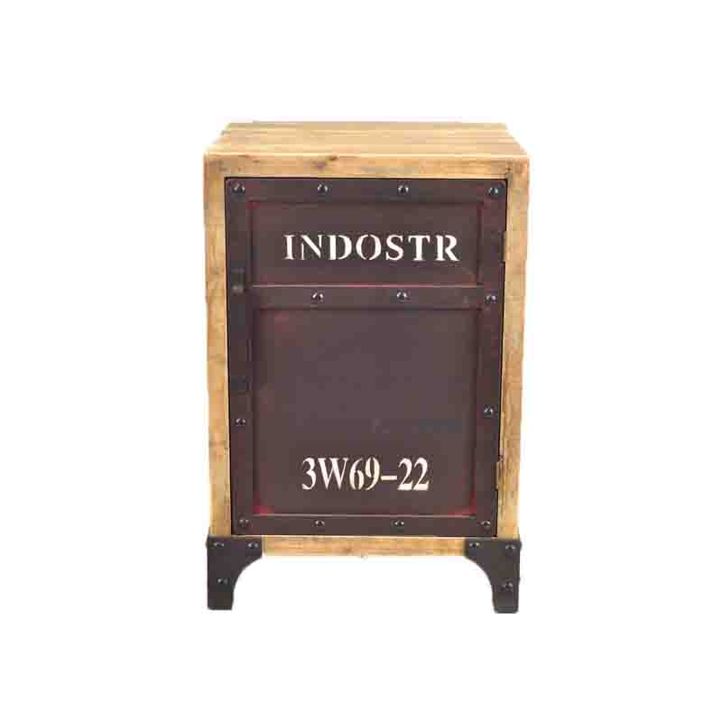 法国复古工业风格设计铁艺床头矮柜复古做旧家具_ 达