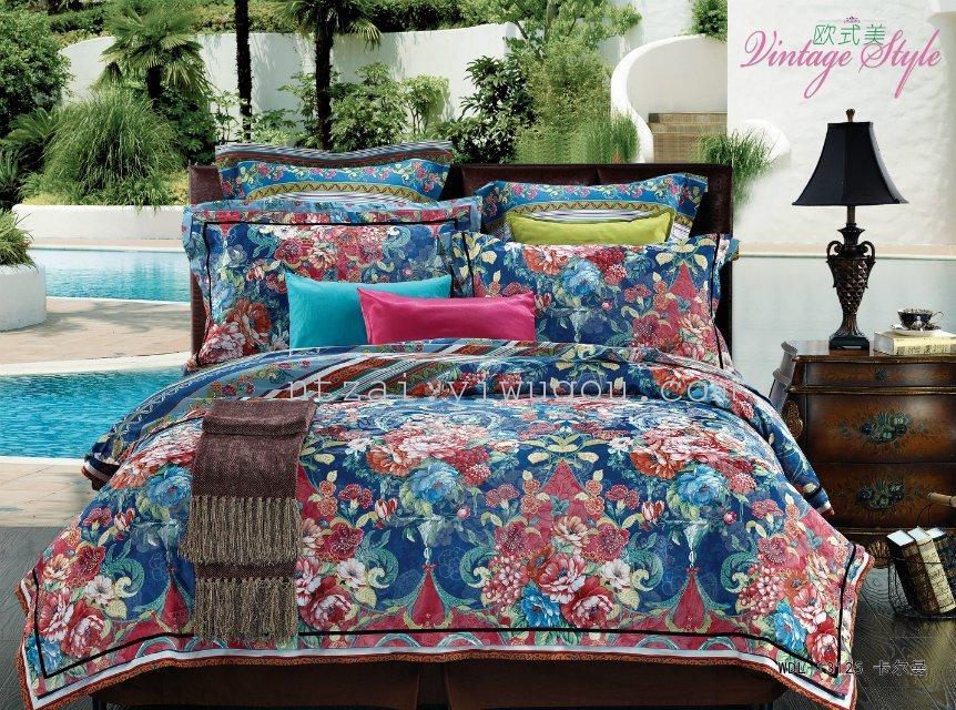 卧室用品 床上用品 四季适用 超柔大提花印花欧式美四件套