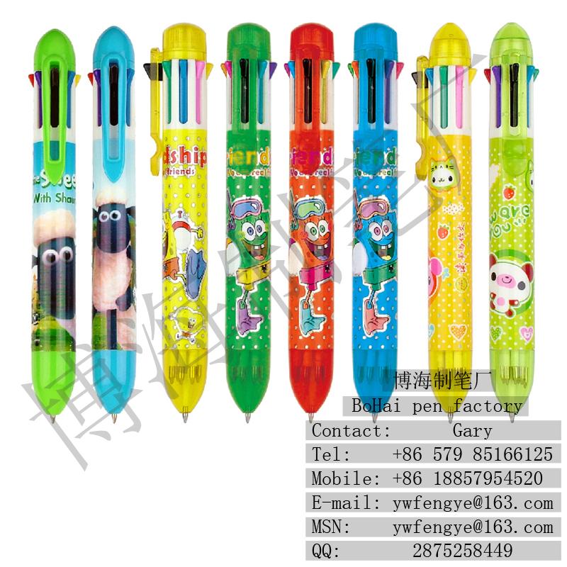 八色笔 日韩款可爱卡通多色笔 特色蝴蝶结笔夹原子笔