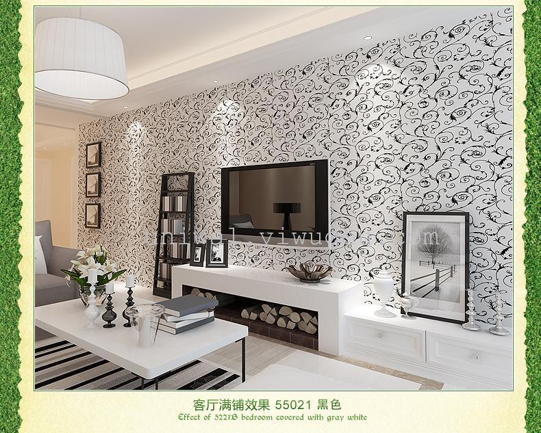 莨苕叶欧式 意大利植绒 温馨 卧室客厅背景墙壁纸