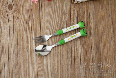 Handle spoon knife and fork suite boutique cartoon cartoon tableware two piece stainless steel spoon
