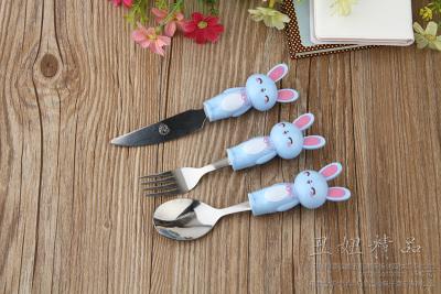 Boutique cartoon tableware three stainless steel spoon fork kit set cartoon three piece