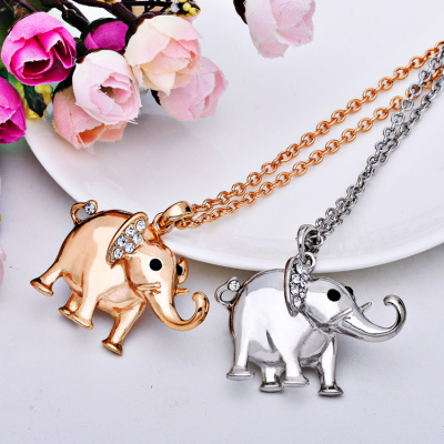 Couple necklace cartoon Elephant long necklace sweater chain jewelry Manufacturers Wholesale