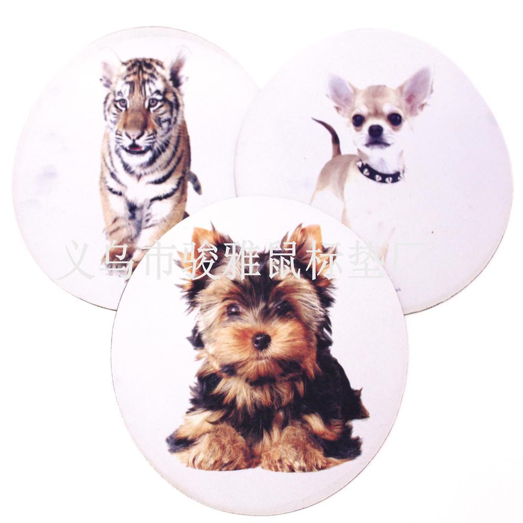 圆形天然橡胶 卡通动物 创意可爱 办公游戏鼠标垫 定制订做