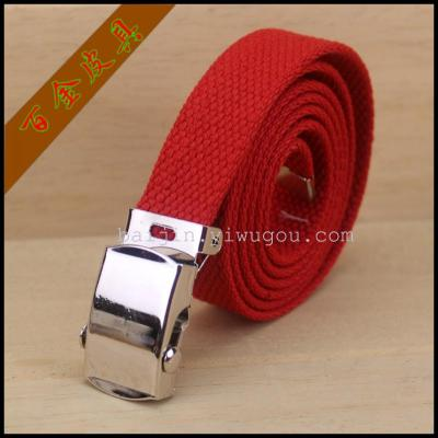 2CM General cotton belt with round military buckle, various colors, novel styles, factory outlets