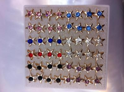 Korea cute Crystal star Stud Earrings women's fashion earrings Korean version of Hypo-allergenic ear acupuncture