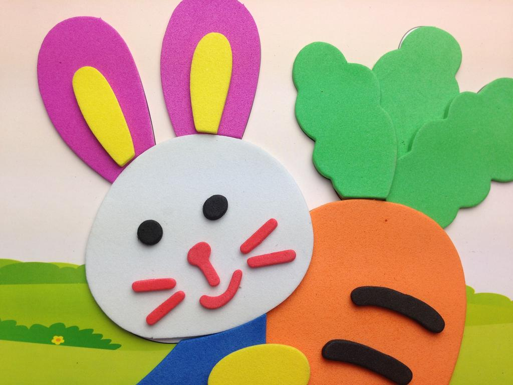 供应eva儿童智力开发玩具diy手工贴画 小白兔幼儿手工
