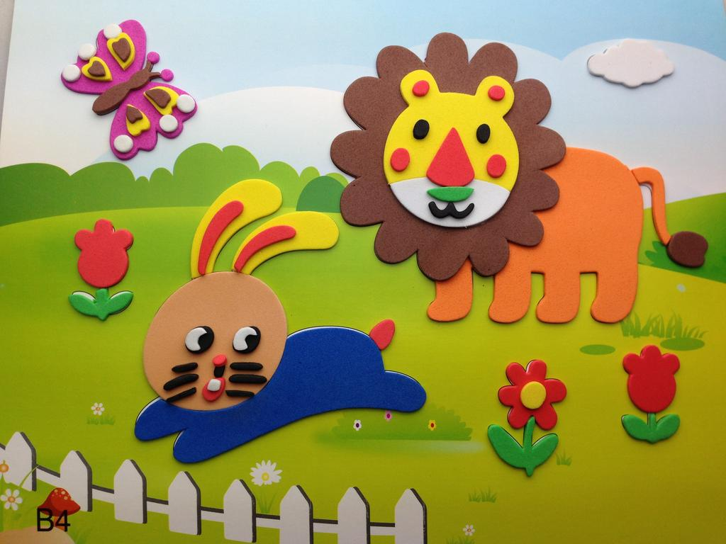 春禧b004狮子幼儿eva手工拼图 创意立体智能拼图