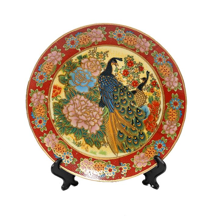 陶瓷日彩花鸟盘子