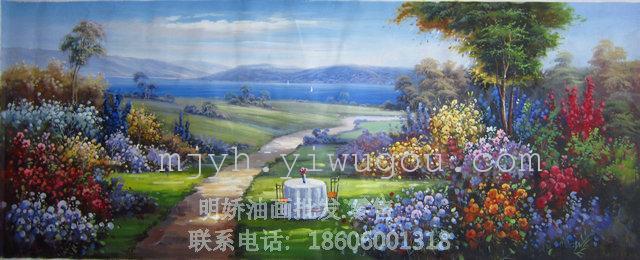 纯手绘风景油画花园景山水画客厅卧室玄关书房挂画装饰画定制