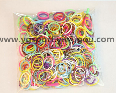 Creative DIY Rainbow rubber bands bracelets handmade rubber bands chain of children's hair band