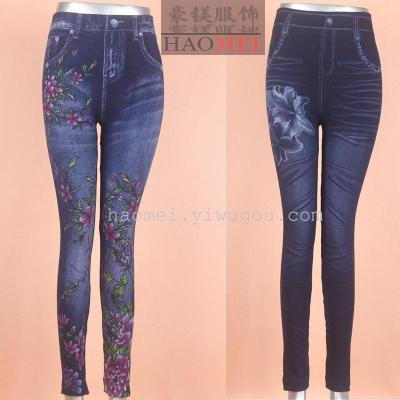 Seamless knitted jeans printed leggings