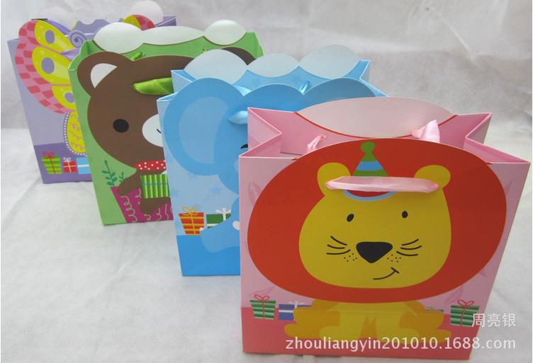 学生卡通可爱手提纸袋礼品袋 小动物包装袋纸袋 中秋节礼品袋
