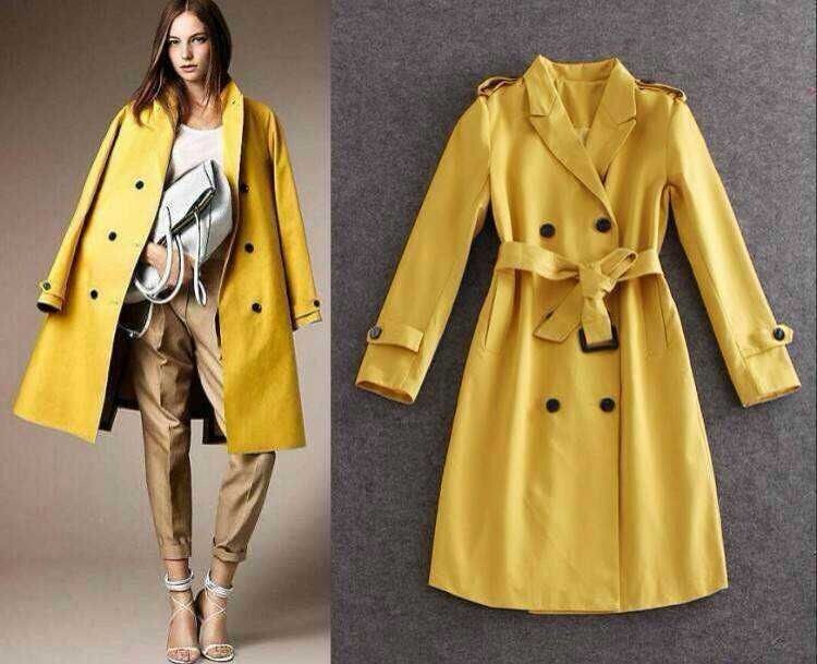 2014 the new Burberry double-breasted trench coat with yellow, high-end  atmosphere 7bc0c8fd47