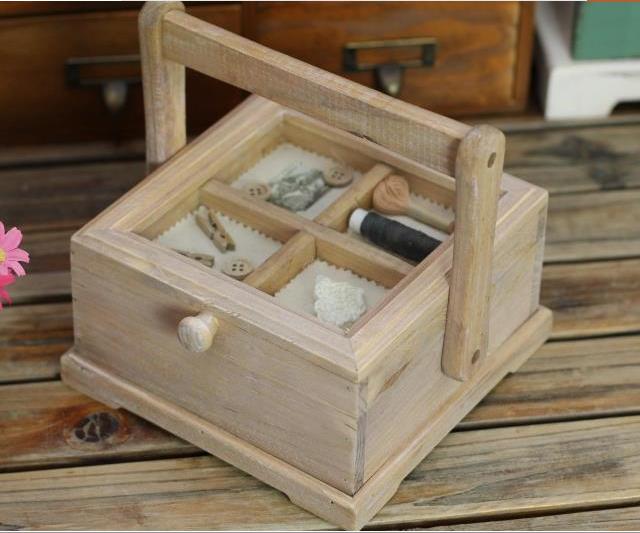 居家日用木制手提式针线收纳盒 首饰盒 储物盒_ 浙江