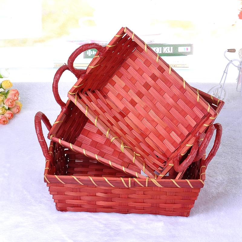 厂家供应塑料手工编织水果篮金属支架红色杂物篮子