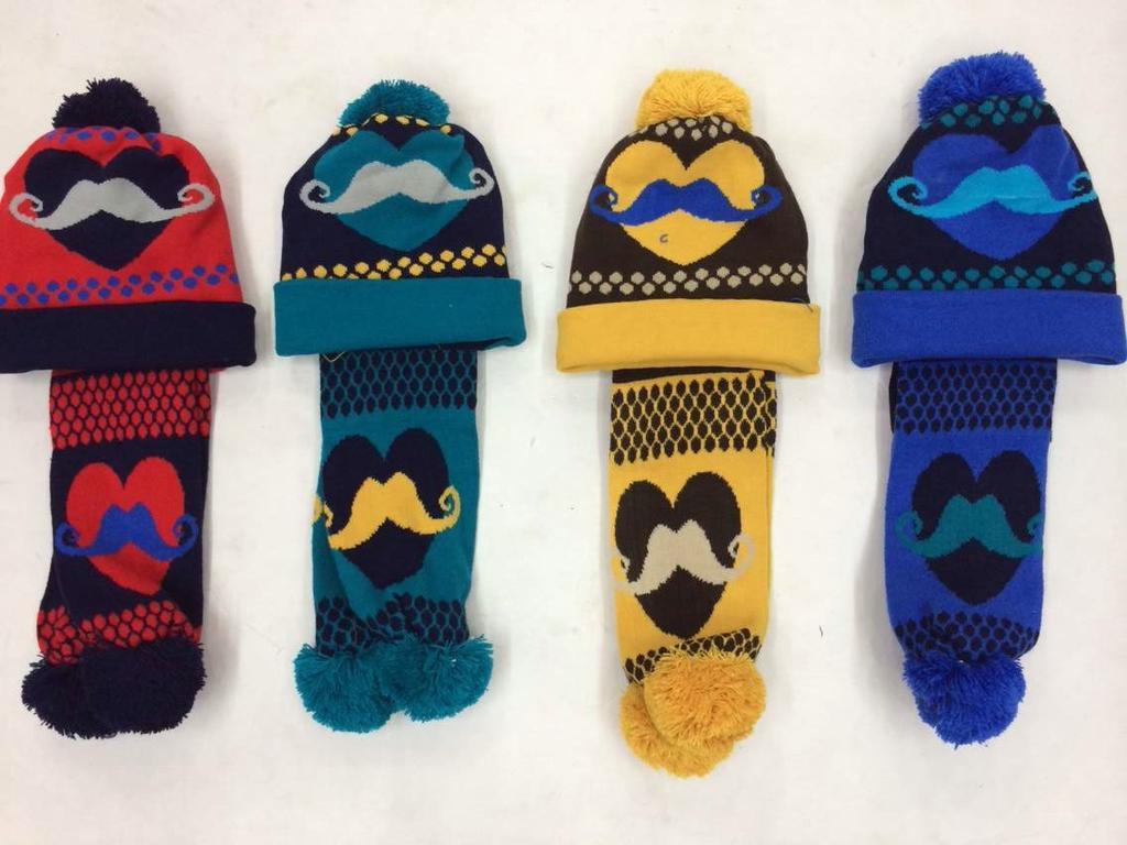 2014新款韩版时尚提花儿童针织套帽毛线帽围巾 帽子